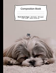 """Dog Composition Notebook, Blank Sketch Paper: Sketchbook Drawing Art Paper, 200 pages, 7.44"""" x 9.69"""" (Dog Series)"""