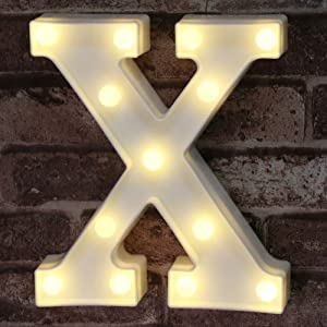 LED Marquee Letter Lights Sign, Light Up Alphabet Letter for Home Party Wedding Decoration X