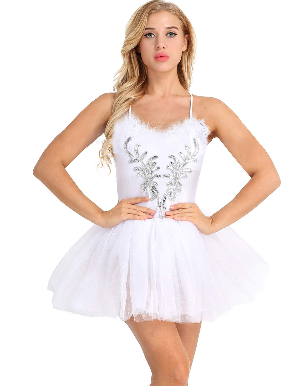 iiniim Women's Ballet Tutu Costume Black Swan Lake Dance Leotard Dress White Style B S by iiniim