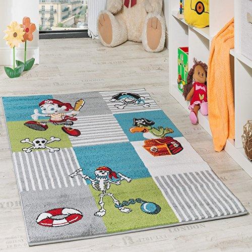Kinder Teppich Pirat mit Papagei Schatzkiste Kinderzimmer Karo Grün Creme Türkis, Grösse:120x170 cm