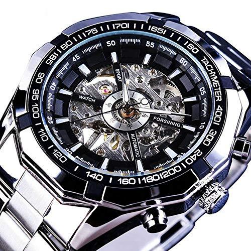 Mechanical Watch Automatic Skeleton Self-Winding Watch for Mens Stainless Steel Waterproof Luminous