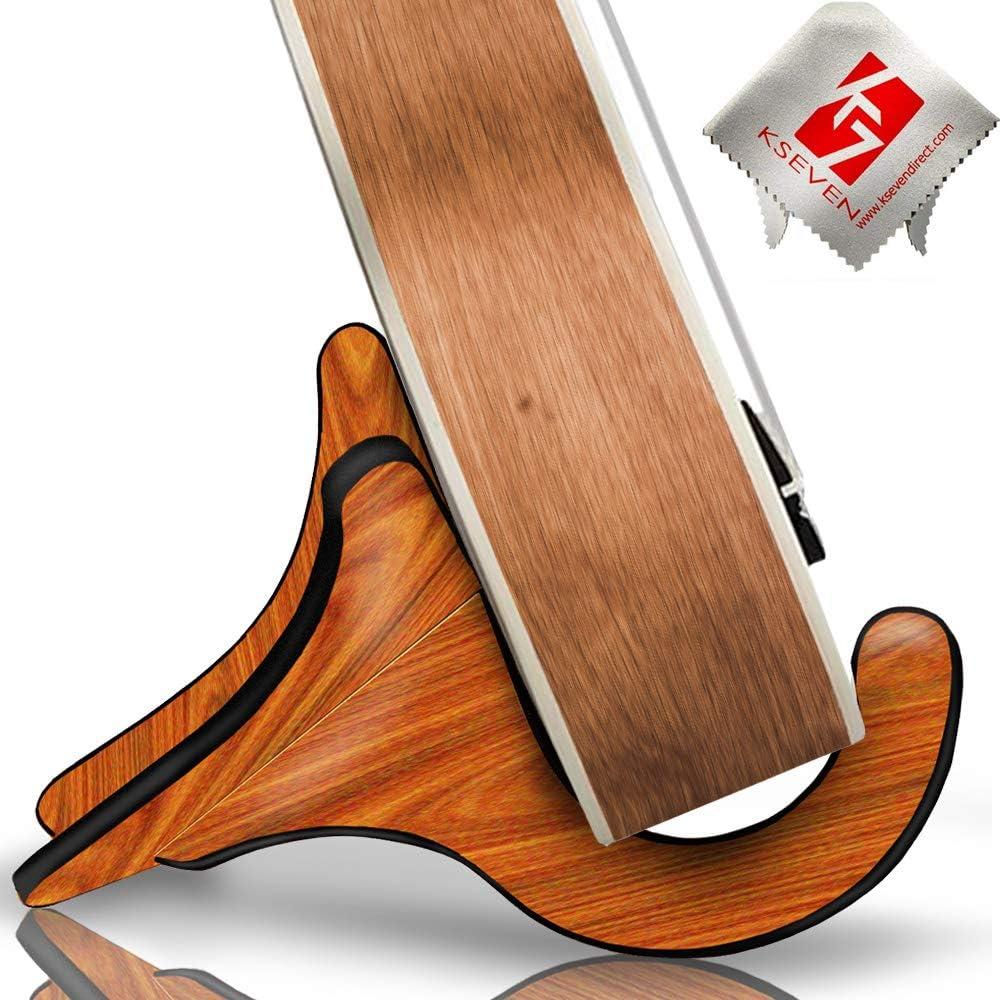 KSEV Portable Wood Ukulele Stand, Anti-Slip Base Hard