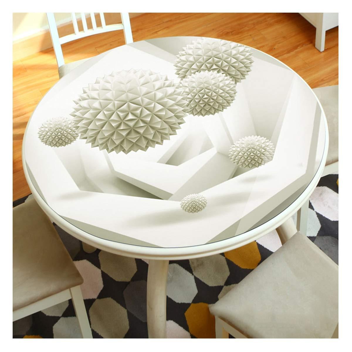 E 110cm LLH Nappe ronde en PVC, grand salon de la maison 3D résistant à l'huile anti-brûlure grande nappe ronde impression de tissu de table basse en plastique ZHUOB (Couleur   D, taille   110cm)