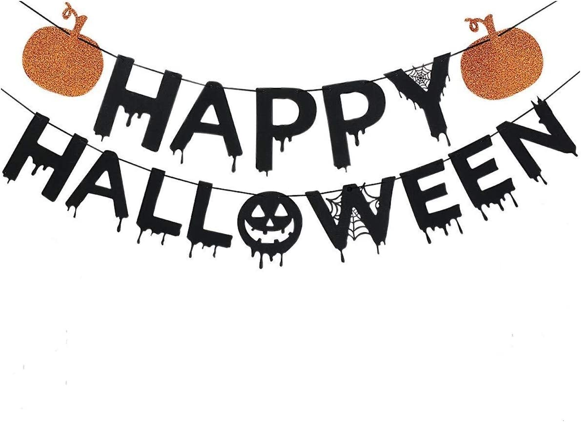 Pumpkin Party Halloween Party 5 Pack Halloween Backdrop Halloween Decoration Bunting Orange Foiled Mixed Pack Fan Decorations