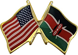 product image for Gettysburg Flag Works Set of 3 Kenya & U.S. Crossed Flags Double Waving Friendship Lapel Pin - Made in The USA