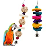 Parrot Toy, Rusee Parrot Hanging Toys Colorful Rattan Ball Bird Cage Loofah Sponge Plant Fibre Pet Bird Conure Macaw Cockatiel Cockatoo Chewing Toy (2 Pack)