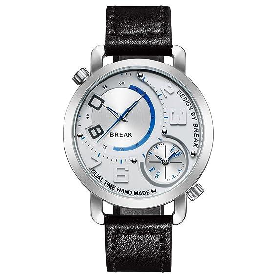 BREAK Relojes de Pulsera Original para Hombre con Esfera Doble Reloj de Pulsera Deportivo de Cuero Negro: Amazon.es: Relojes