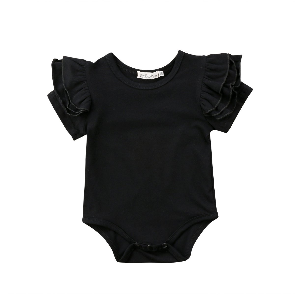 ITFABS Baby Girl Basic Tassel Ruffles Short Sleeve Solid Cotton Romper Bodysuit Jumpsuits Tops Clothes (Black, 12-24 Months)