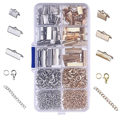 Choker Necklace Kit - Hraindrop 370 Pieces Ribbon Bracelet Kit Bookmark Pinch Crimp Ends Lobster Clasps with Jump Rings and Chain Extenders