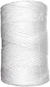 White Poly Twine - 1 Ply x 1,000 Feet Tube - Resists Unraveling and Fraying - Hand Tying
