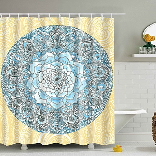 yellow and blue shower curtain - 5