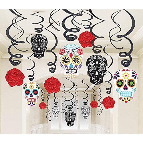Amscan Day Of The Dead Halloween Party Sugar Skull Swirl Ceiling Decoration (30 Piece), One Size, (Day Of The Dead Halloween Party)