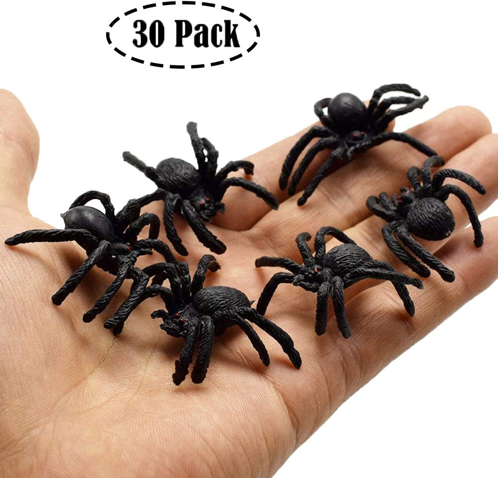 Muzboo Realistic Plastic Spider Toys,Halloween Prank Props,Small Size funny Halloween Decorations 30pcs
