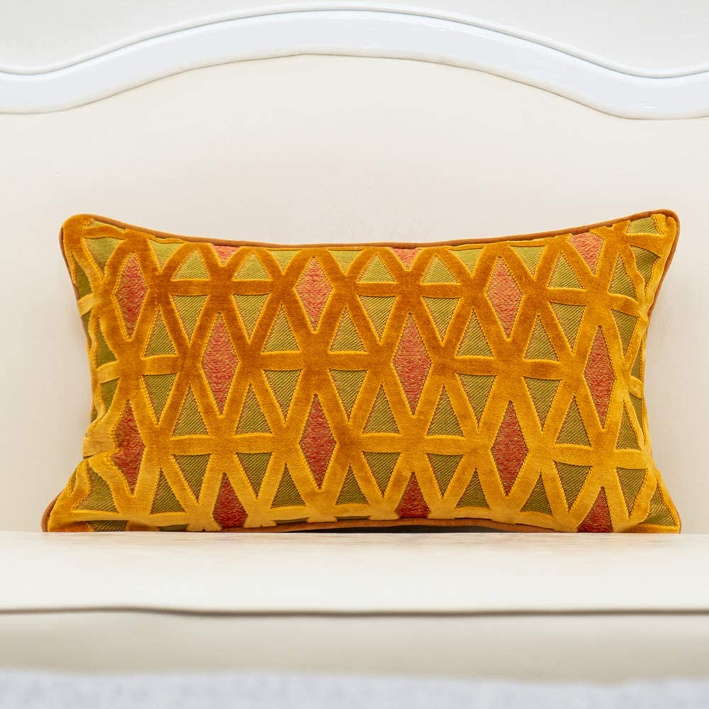 Amazon Com Alerfa 12 X 20 Inch Rectangle Diamond Plaid Striped Embroidery Cut Velvet Cushion Case Luxury Modern Lumbar Throw Pillow Cover Decorative Pillow For Couch Sofa Living Room Bedroom Car Orange Home