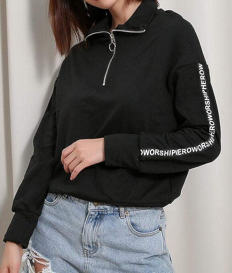 OTW Women Letter Print Casual Active Zip Trim Turtle Neck Pullover Sweatshirt Tops