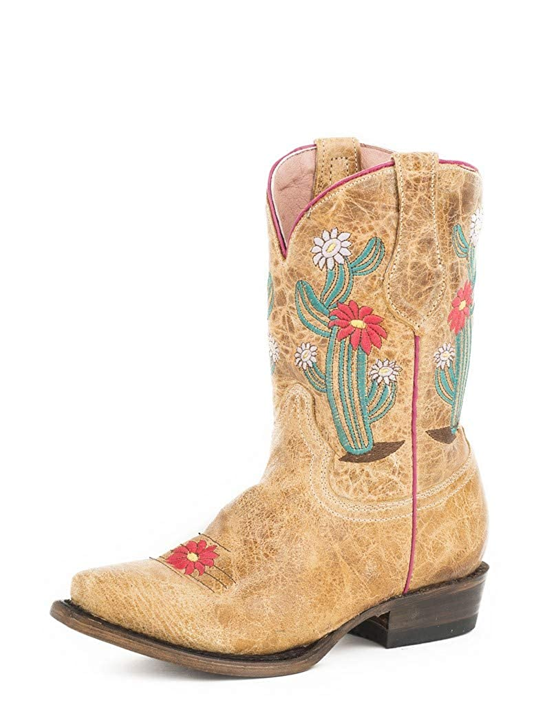 ROPER Girls Cactus Cutie Burnished Brown//Turquoise Cowgirl Boot Snip Toe