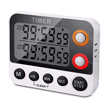 Beau Digital Dual Kitchen Timer, Countdown Timer, Cooking Timer, Stopwatch,  Large LED Display