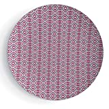 """iPrint 7"""" Porcelain Dinner Plate with Stand Ikat Square Pattern Checkered Mosaic Traditional Abstract Shapes Ethnic Inspirations"""