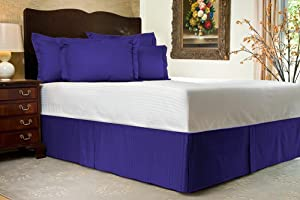 Bedskirt 500 TC BLUE King Striped 78 X 80 Size Bed-Skirt with 19