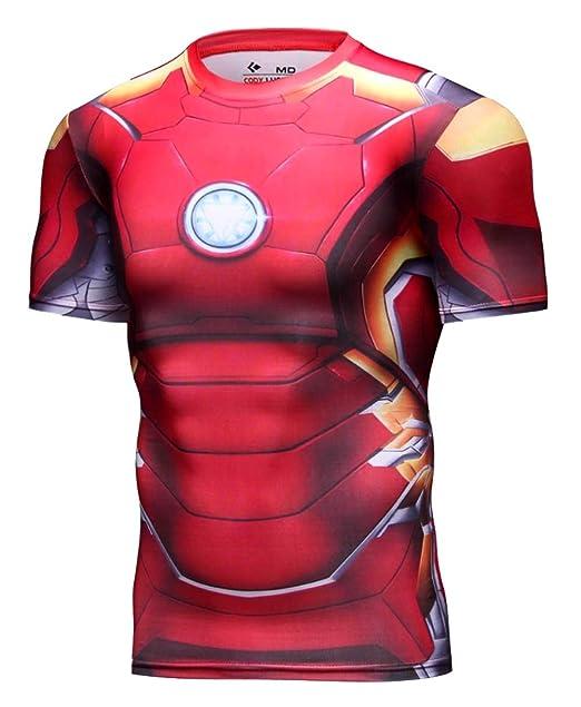 A. M. Sport Camiseta Fitness Compresion Hombre con Dibujos de Superheroes  para Entrenar y Hacer Deporte. Licras (Iron roja)  Amazon.es  Ropa y  accesorios 332ec8c8f34c5