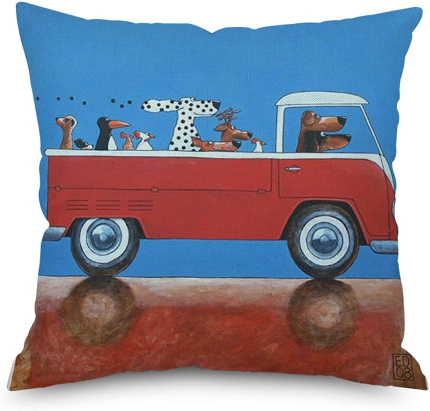 H Design Throw Pillow Cover Decorative Durable Cushion Cover 18 x 18 Cute Dogs Drive a Red Vintage Convertible Van Pillow Case Hidden Zipper Home Decor Spring Summer Sofa Couch Bedroom Living Room