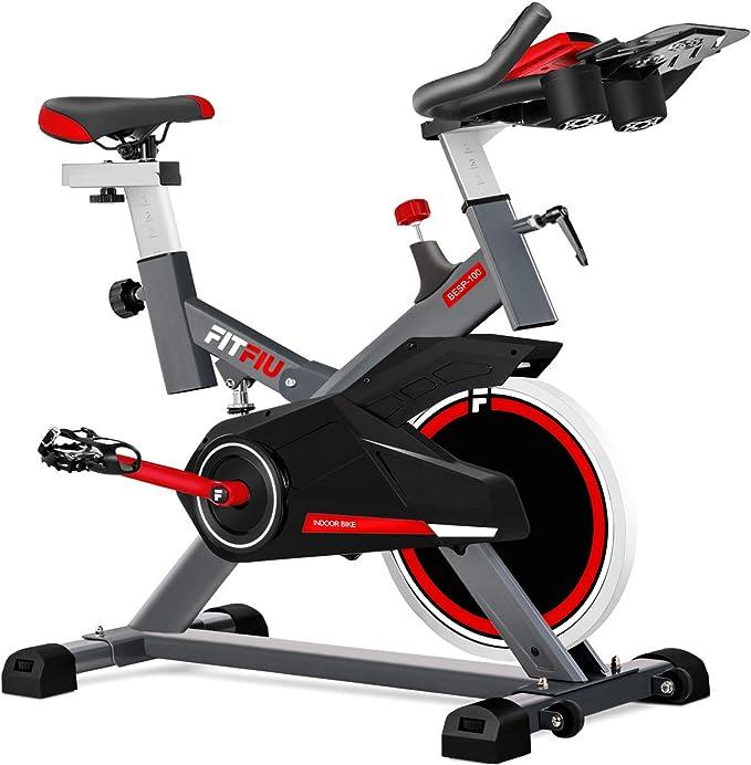 Fitfiu Fitness BESP-100 - Bicicleta indoor con disco de inercia de 16 kg y resistencia regulable, Bici de entrenamiento fitness con sillín ajustable, ...
