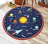 Kids Round Rug Solar System Learning Area Rug Children's Fun Area Rug - Non Slip Bottom (Solar System, 47'' Diameter Round)