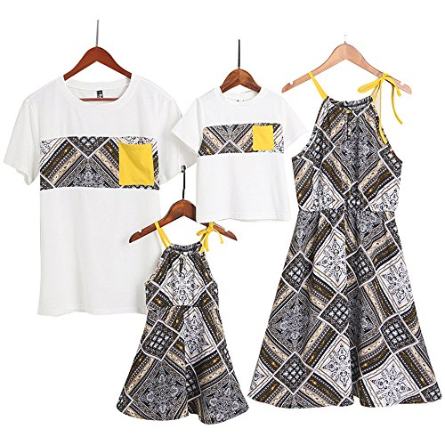 PopReal Short Sleeve Cotton T-Shirt and Shoulder-Straps Tribal Prints Dress Family Matching Outfits (Brother Sister Clothes)