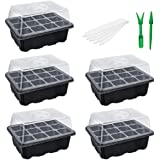 NSWDYLO 5 PCS Seed Starting Trays 60 Cells Insert Hot House Seed Starter Trays Kit for Garden Large Seedling Tray with…
