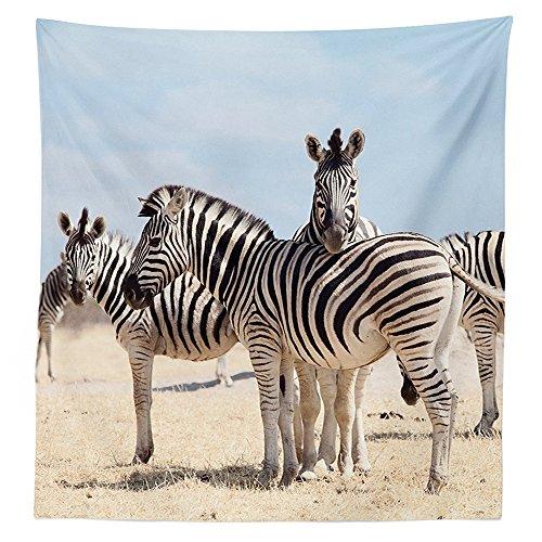 42 Savannah 3 Light (Wildlife Decor Tablecloth Three Zebras In National Park Savannah Safari Dining Room Kitchen Rectangular Table Cover)