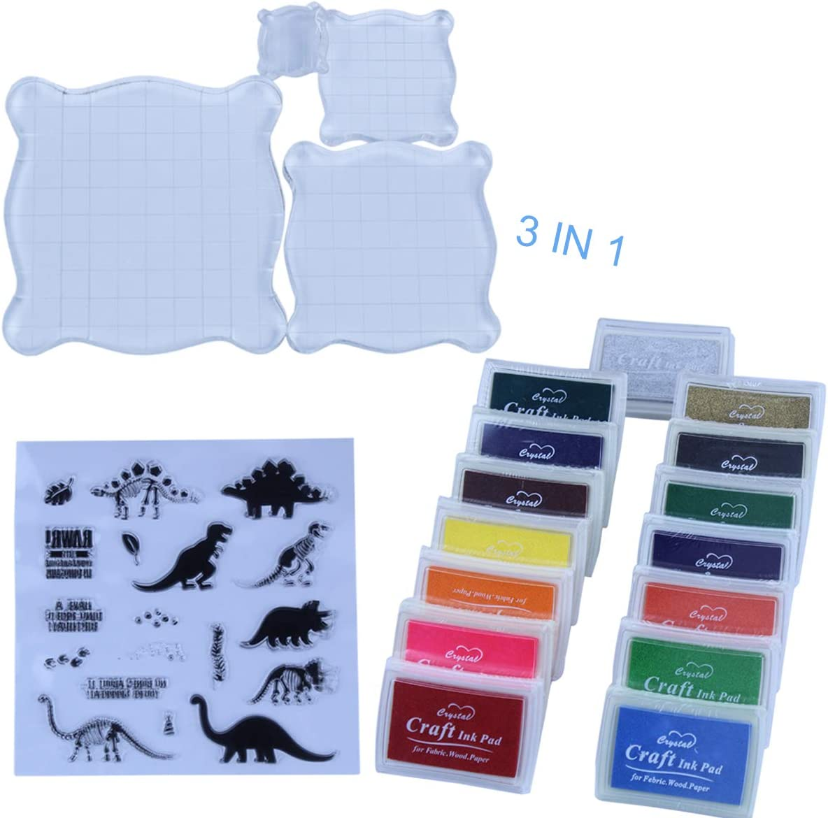 Doteonhome 3 In 1 DIY Stamping Set Contain 4pcs Stamp Blocks,15 Colors Craft Ink Pad,1 Dinosaur Pattern Silicone Clear Stamps