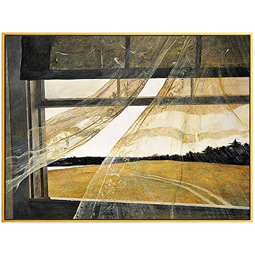 NOBGP Framed Wall Art Poster Prints Canvas Art Painting Colorful Prints Wall Decor Modern Canvas Framed Stretched Home Bedroom Artwork Wind from The Sea Andrew Wyeth,23''x35'' ()