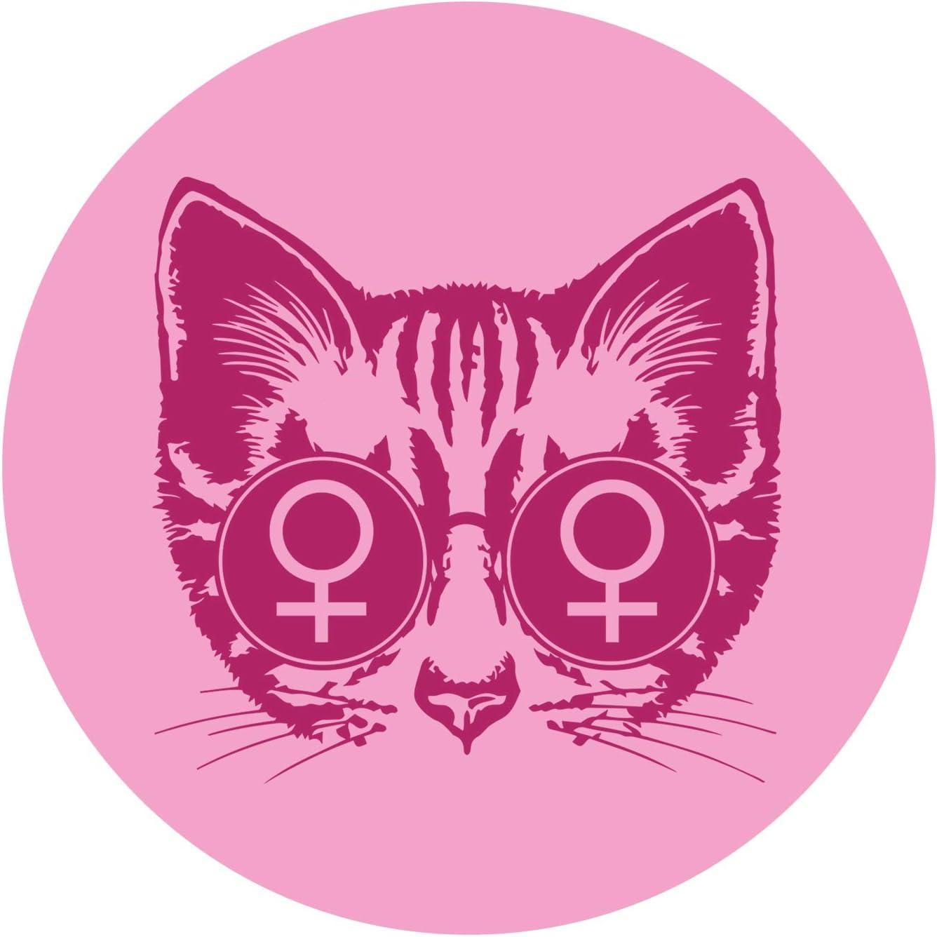 EvolveFISH Lesbian Cat Bumper Sticker 5 Diameter