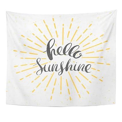 e3f5b5bf1 Amazon.com: Emvency Tapestry Yellow Burst Hello Sunshine Vintage Sunburst  and Lettering Sun Home Decor Wall Hanging for Living Room Bedroom Dorm  50x60 ...