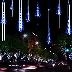 YSIM Meteor Shower Rain Lights,Twinkling Romantic Lights for Party, Wedding, Christmas, etc.11.8inch 8 Tubes (Blue)