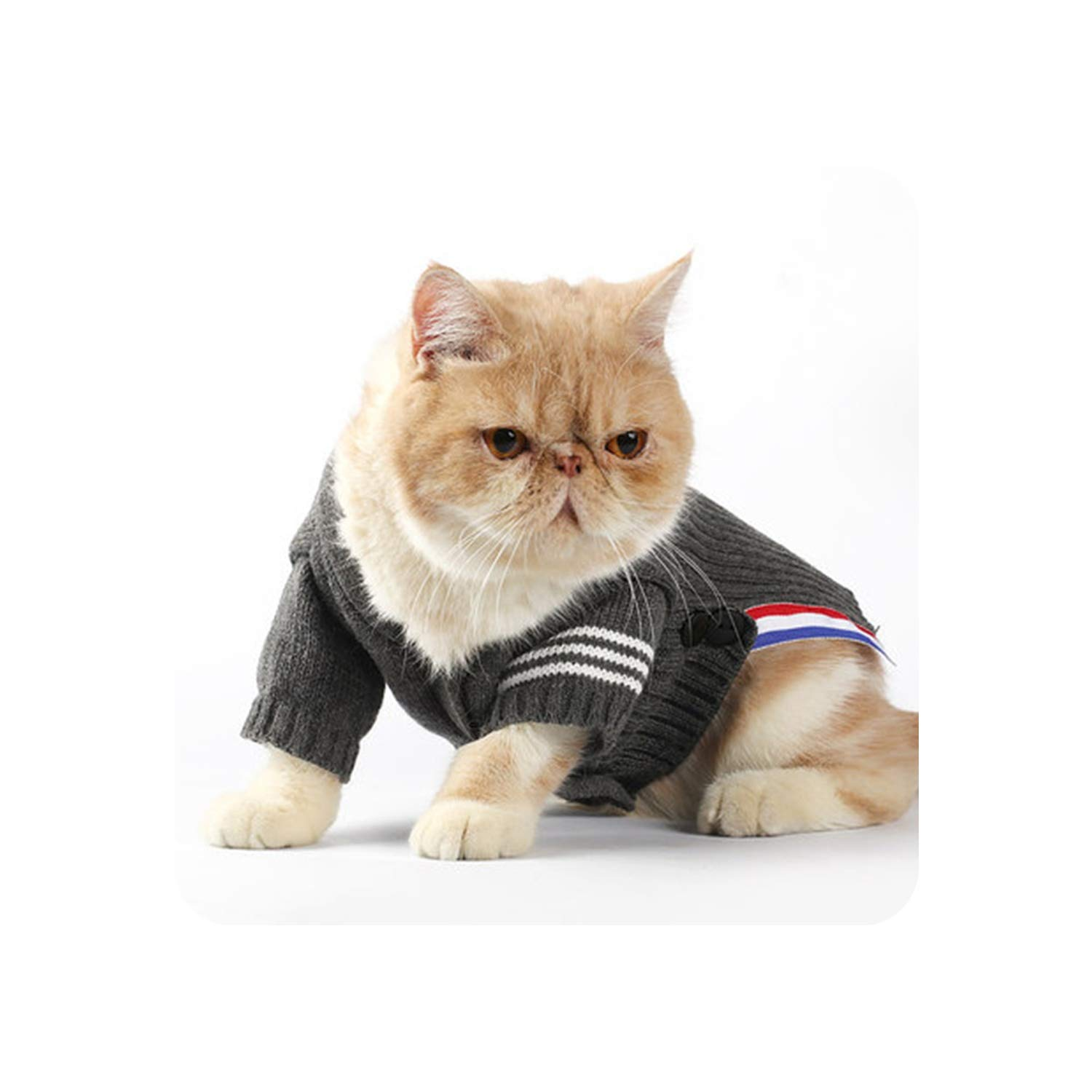 Encounter_meet Sweater for A Cat Pet Costume Clothes Kitten Sweater Cats Clothing for Pets Dresses Sweaters,Gray,L