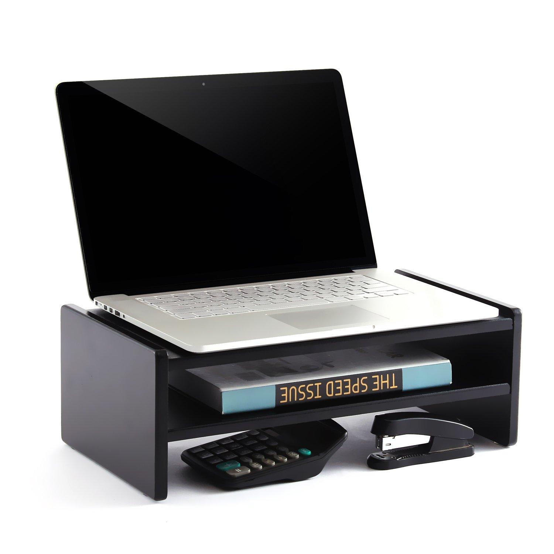 TAVR Supporto per monitor di legno, tavolino pc, colore:Nero CM1002 RFIVER