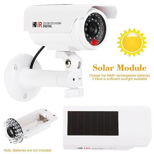 KKmoon Cámara Simulada Falsa de Vigilancia, Camara Bala, Energía Solar, Impermeable con Luz LED para Seguridad Hogar Oficina Mercado Color Blanco: ...