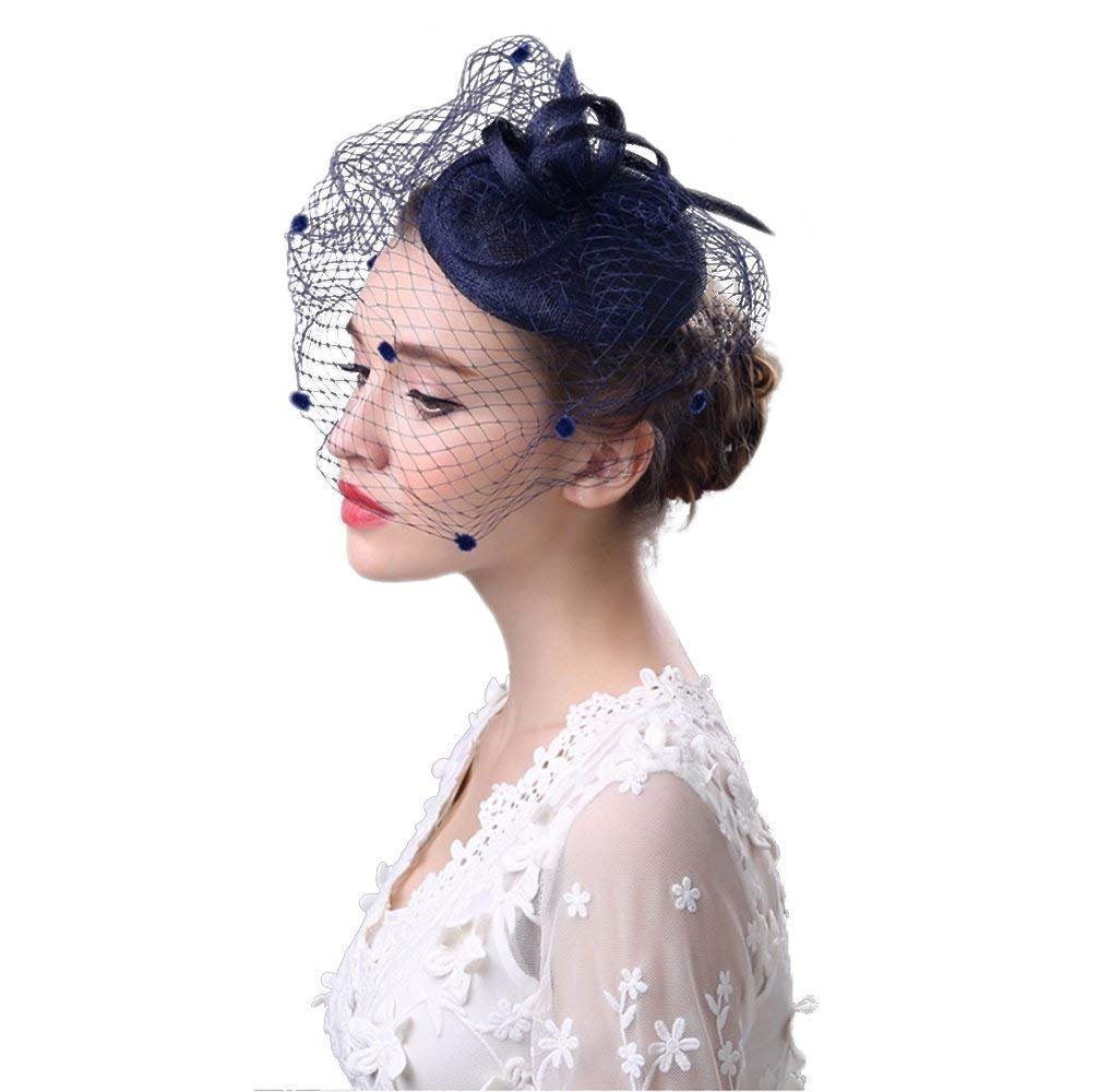 Lady Net Fascinator Headdress Flower Brooch Clip Bride Races Cocktail Party