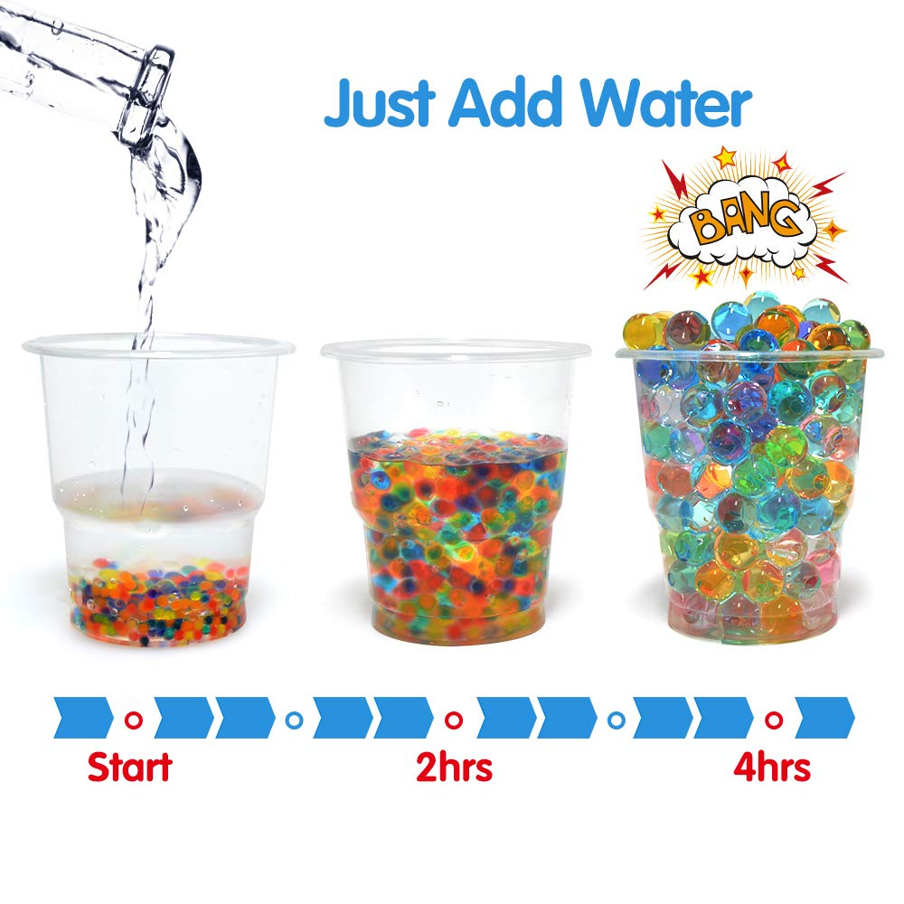 Tactile Sensory Toys for Kids Random Color COMISU Water Beads for Kids Fine Motor Skills Toy Set 30,000 Water Growing Balls with 2 Scoops