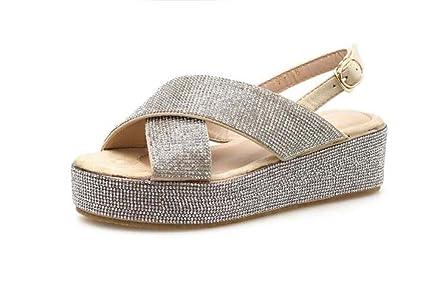 a64c2bd713e Women Pump 5.5cm Wedge Heel Thick Bottom Sandals Roma Shoes Sweet Open Toe  Slingbacks Casual