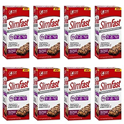 Lot of 8 Boxes of Slimfast Meal Replacement Bars Dark Chocolate Cherry Cashew (4 bars/box x 8 boxes) Expire date 12/12/16-New!