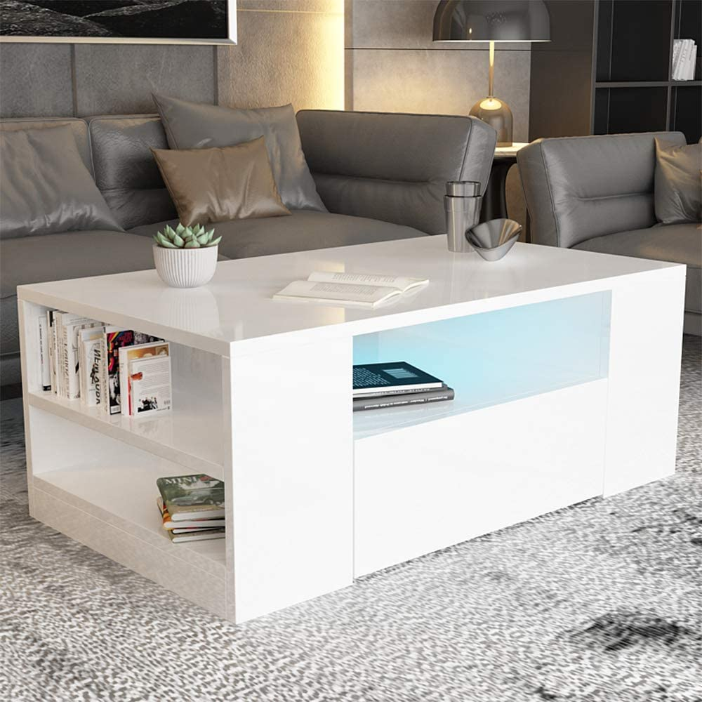 Coffee Tables For Living Room High Gloss Wooden Sofa Side Table 2 Tier With Storage Shelf And 2 Drawers Modern Furniture For Home Office White Amazon Co Uk Kitchen Home