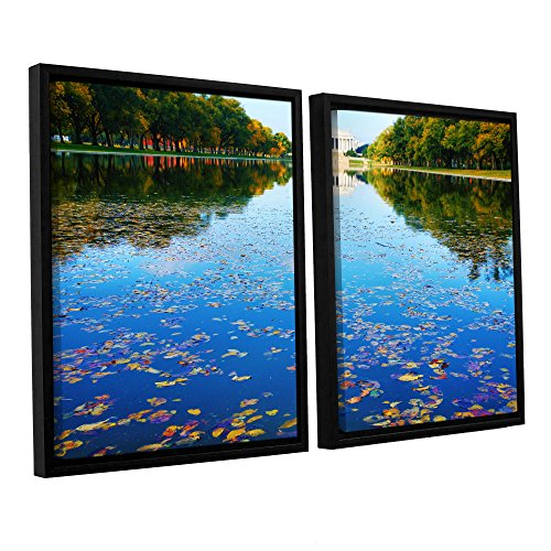 ArtWall 2 Piece Steve Ainsworth's Lincoln Memorial and Reflecting Pool I Floater Framed Canvas Set, 32 x 48