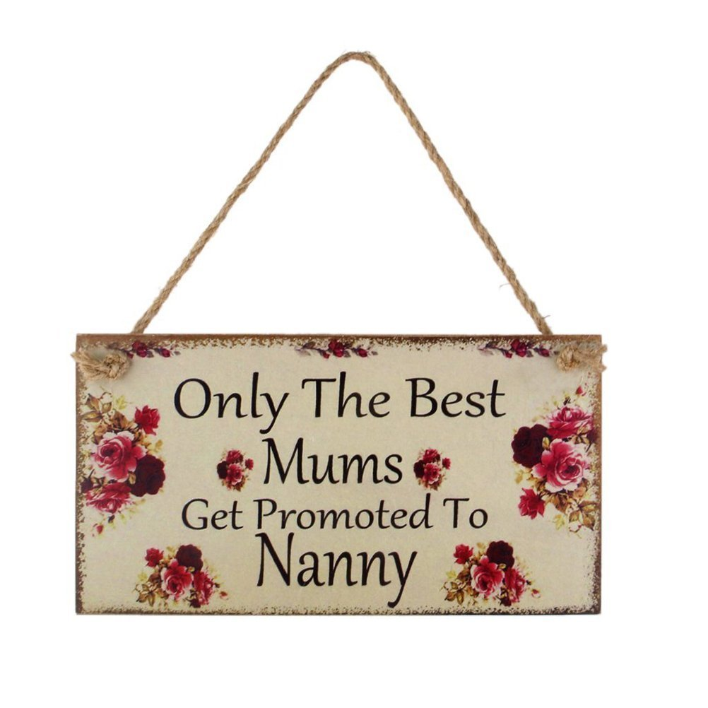 Hemore Only the best Mums Get Promoted to Nanny Wall Plaque Sign Mum Gift Halloween Christmas Decoration Gift DIY Jewelry Gift