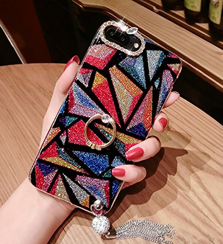 Price comparison product image iPhone 8 Plus Case,iPhone 7 Plus Glitter Case, PHEZEN Bling Diamond Rhinestone with Ring Kickstand Sparkle Soft Silicone TPU Bumper Protective Cover for iPhone 7 Plus/8 Plus, Triangle