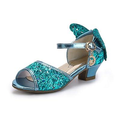 OCHENTA Girls  Peep Toe Princess Butterfly Kitten Heels Glitter Sandals  Blue Tag 26-10 6f539642c0a9