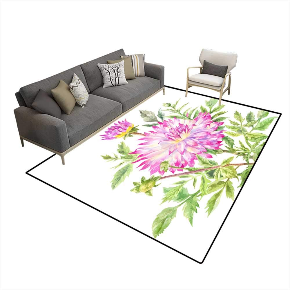 Amazon.com: Washable Carpet Yellowpink Large Dahlia ...