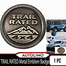1 Pc Metal Trail Rated 4x4 Round Emblem Badge for Jeep Wrangler Unlimited JK Cherookee Rubicon Liberty Patriot Latitude Bronze