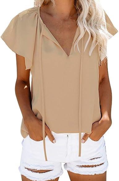 VEMOW Camisas de Mujer Tops Blusas Manga Corta de Verano para Mujer Camiseta con Cuello en V Color Puro Casual Tops básicos: Amazon.es: Ropa y accesorios